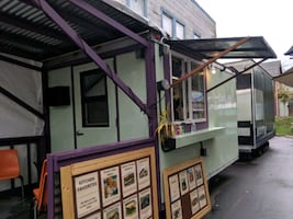 Newly renovated food cart on busy street