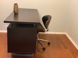 Wooden office desk and chair