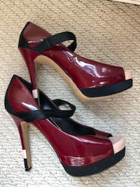 pair of red leather peep-toe platform stilettos Rockville, 20852
