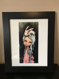 Woman in black dress painting with black wooden frame Edmonton, T6X 0R4