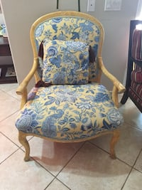 brown wooden framed blue and white floral padded armchair Indio, 92203