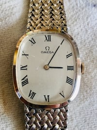OMEGA GOLD FILLED MEN / WOMEN WATCH Adjustable MESS BAND w/PAPERS MINT