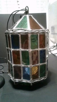 Danish Import Company vintage leaded stained glass hanging lamp  Virginia Beach, 23454