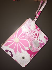 white and pink floral print leather wristlet Washington, 20007