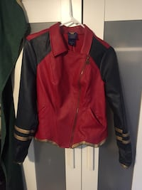 red and black leather zip-up jacket