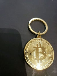 Bit coin keychain gold or silver