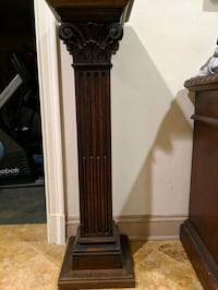 Pair of 19th cent carved column sculpture pedestal McLean