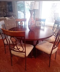 EXTRA LARGE WOOD TABLE SIT 6 AND THE  6 CHAIRS