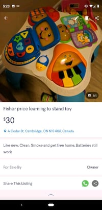 white and blue Fisher Price learning walker screenshot Cambridge, N1S 4X8