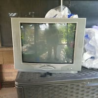 gray CRT TV with stand Mission, 78572