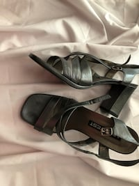 pair of black leather open-toe heels Fairfax, 22030