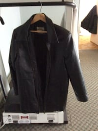 Black leather jacket. Ladies. Size medium. Good condition. 3/4 length. Nice warm jacket in good condition Oliver, V0H 1T6
