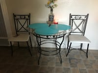 Round black metal framed glass top table with chairs Olivehurst, 95961