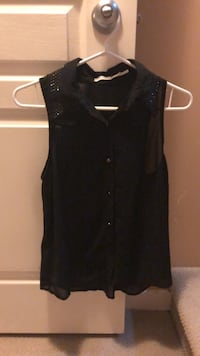 Sheer Black Button Down Top Langley, V3A 9L4