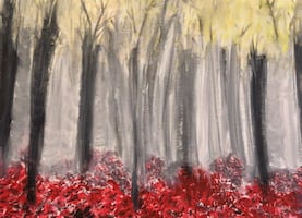 Abstract forest acrylic painting