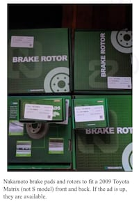 Nakamoto brake pads and rotors Toyota Matrix  Anoka, 55303