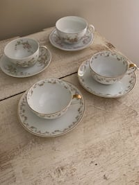 4 Vintage pink and white floral cup/saucers. Some are from LIMOGES, France. $8 for each cup/saucer set   Potomac, 20854