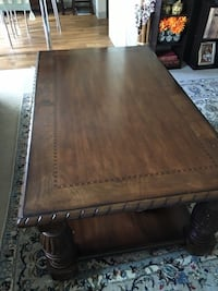 Medium brown coffee table and one end table