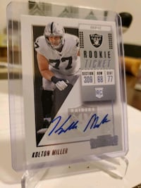 Raiders Kolton Miller certified autograph card Paramount, 90723