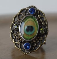 Vintage bohemian peacock feather ring Athens, 11635