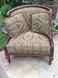 brown wooden framed gray floral padded armchair Pflugerville, 78660