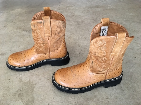 303a1c70a3c ARIAT FATBABY 4728 OSTRICH PRINT WESTERN LEATHER COWBOY BOOTS SIZE 9 B
