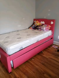 white and pink frame and trundle + bed mattress  Las Vegas, 89146