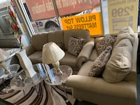 two white-and-gray fabric sofa chairs Chicago, 60629