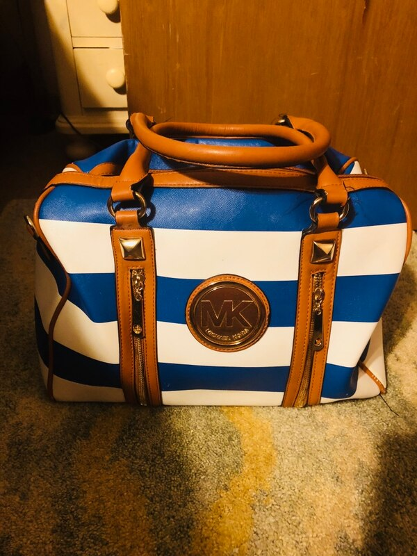 aa74a59438a0 Used blue and white leather tote bag for sale in Stockbridge - letgo
