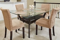 rectangular brown wooden table with four chairs dining set CHANTILLY