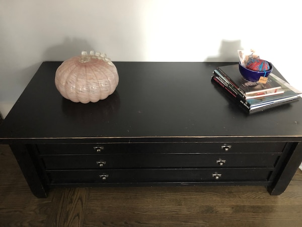 Wooden PB coffee table with matching end table 91920ea0-92a0-4512-abe1-aaa7ae5e102b