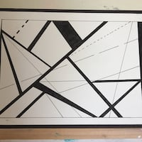 black and white abstract painting Pelahatchie, 39145