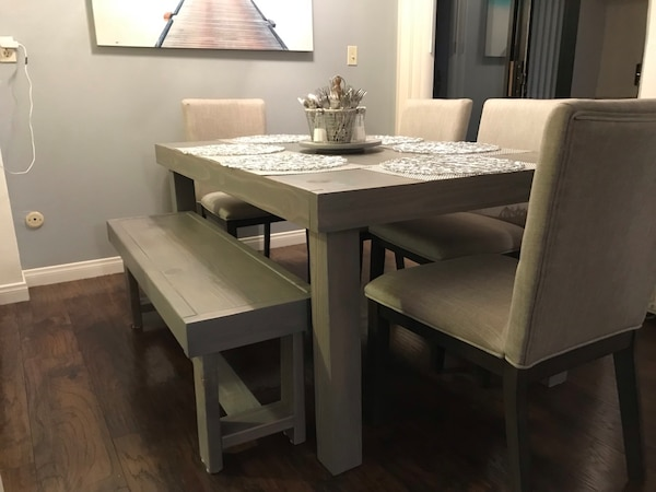 Modern Farmhouse Dining Table and Bench (chairs not included)
