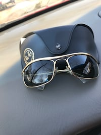 gold-colored Ray-Ban Aviator with black leather case Silver Spring, 20902