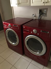 two red front-load clothes washer and dryer ASHBURN