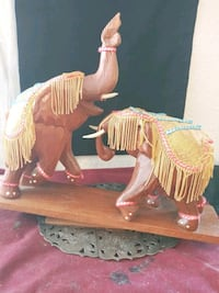 Pair of Hindi Indian Woodcarved Decorative Elephan Henderson, 89015