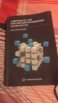 Corporate law for Ontario business, second edition Toronto, M9V 1S2