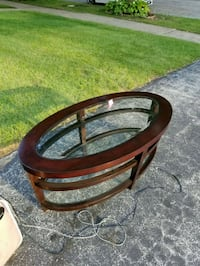 brown wooden framed glass top table Chicago, 60623