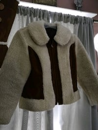 Brown suede and shearling fury sherpa jacket  576 km