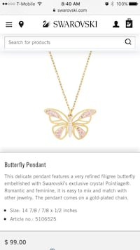 Gold chain necklace with butterfly pendant Virginia Beach, 23456