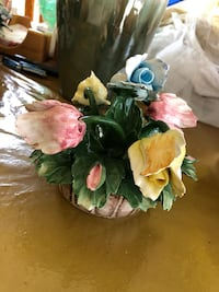 Vintage Capodimonte Colorful Flowers in a Basket 776 mi