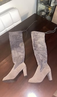 Grey faux suede knee high boots