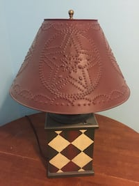 Wood base metal stamped Lamp Lethbridge, T1K 7J7