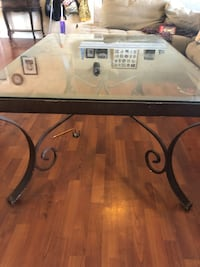 rectangular black metal framed glass top coffee table 2209 mi