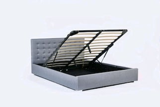 BNIB Queen size Fabric Storage Bed Frame (Gray)