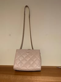 Quilted pink leather crossbody bag