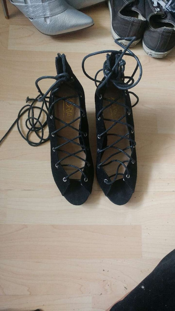 08e612b04db Used Black Lace Up Wedges for sale in Pompano Beach - letgo
