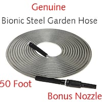 New Bionic Steel Water-Saving 50' Heavy Duty Garden Hose with Nozzle Lanham