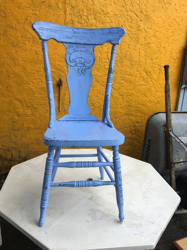 blue and white wooden chair