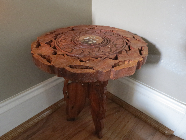Hand carved decorative table with inlays - Pmt in Cash Only